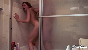 Red-haired youngster comes into James Deen punishment To Her cookie In The shower room XXX Girls