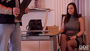 Breasty & Bootilicious secretary Nekane gives Messenger a deepthroat Tube XXX